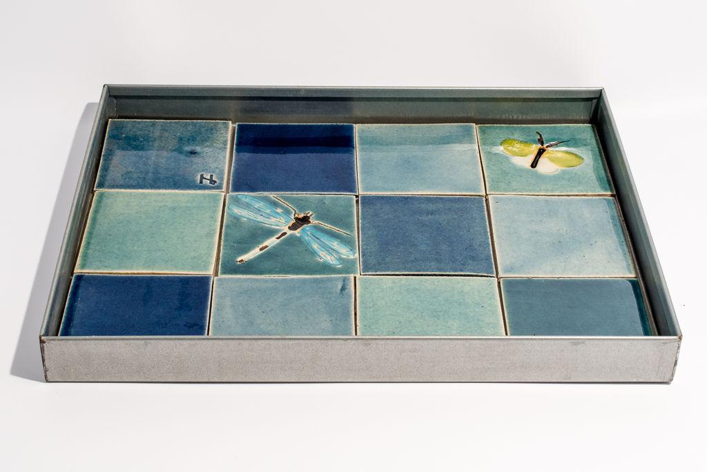 Image of   Helle Nørby - vandspejl 30x40cm blå nuancer