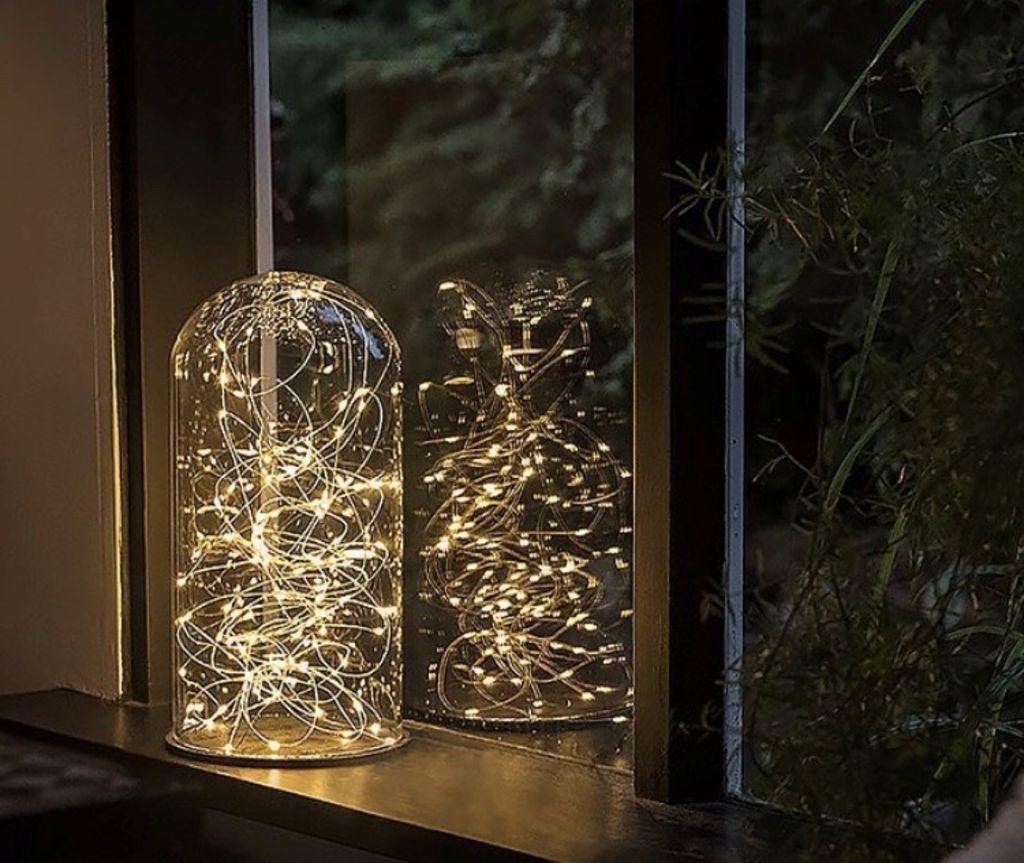 Image of   Tivolilys - Glas Dome / Kuppel - med mønstret filtunderlag